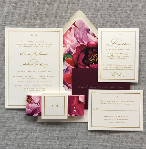 Floral Flourish and Frame wedding invitations