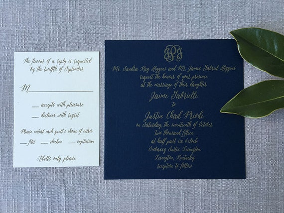 Navy and Gold Bold Calligraphy Sample
