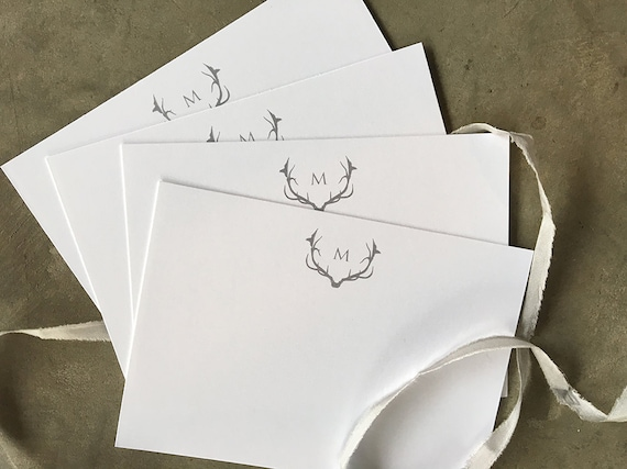 Antler and Initial personalized note cards