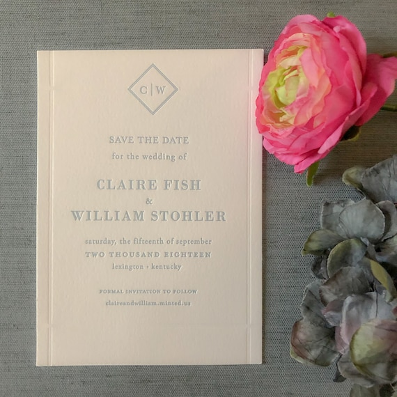 Letterpress Diamond Duet Save the Date Cards in dusty blue ink
