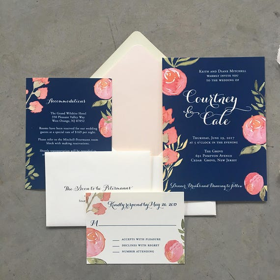 Climbing Florals wedding invitation suite
