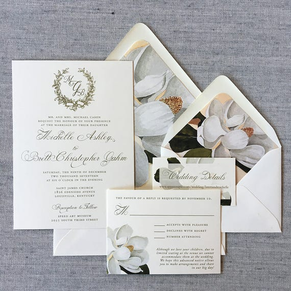 Magnolia Romance wedding invitation suite