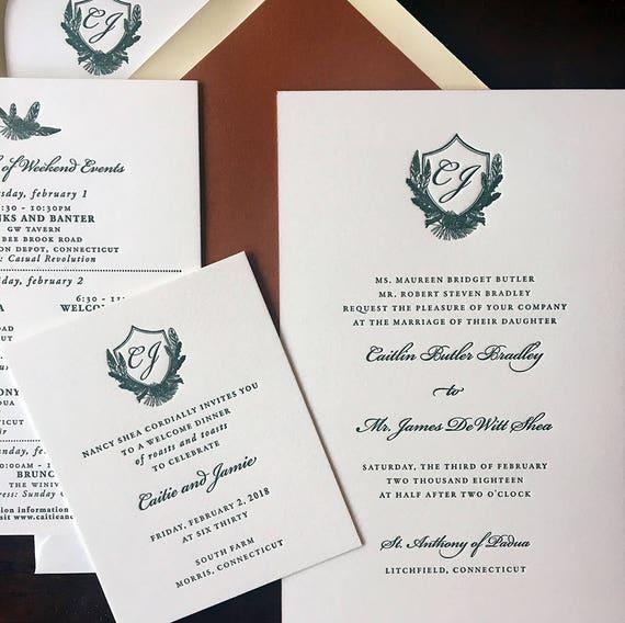 Boho Crest letterpress wedding invitation (Sample)