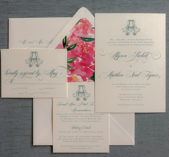 Victorian Monogram wedding invitation (Sample)