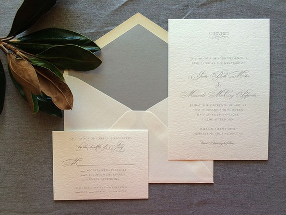 Charleston wedding invitation suite with Roman numerals, in gray ink