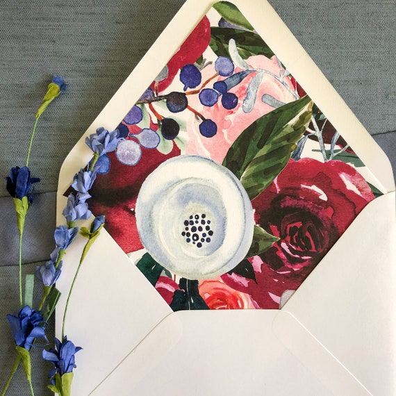 Bold Watercolor Floral Envelope Liners