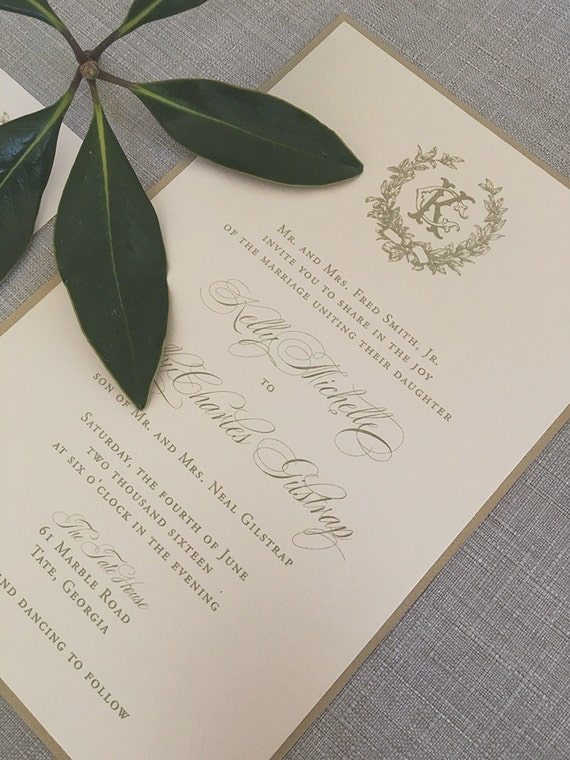Victorian Magnolia Wreath wedding invitation, in gold