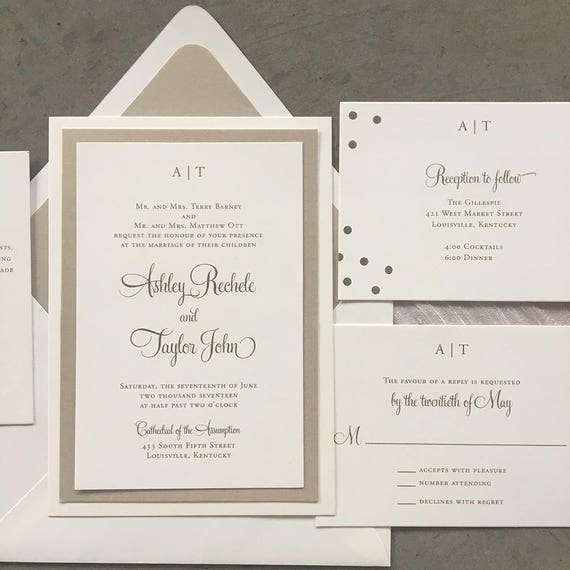 Layered Modern Initials wedding invitation suite