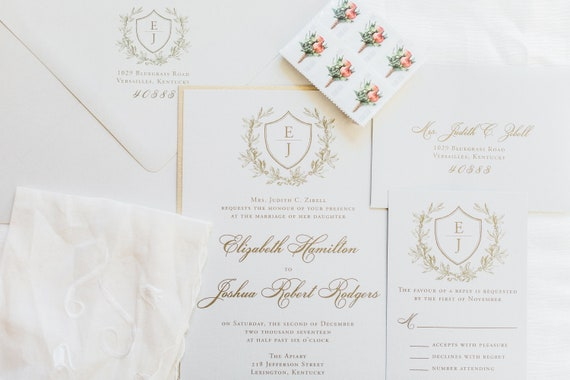 Classic Laurel Wreath and Shield wedding invitation (Sample)