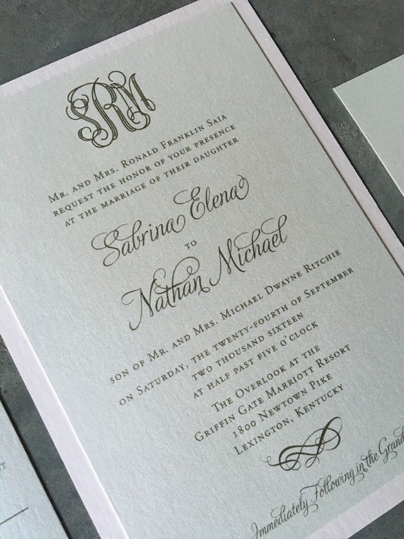 Engraved Monogram thermography wedding invitation sample