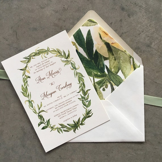 Watercolor Greenery thermography wedding invitation sample