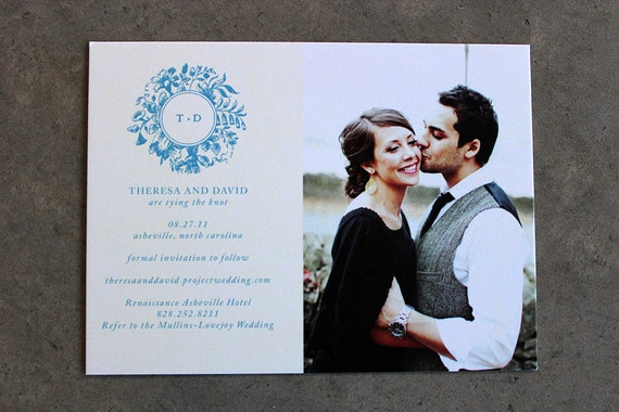 Victorian Floral Wreath Save the Date Cards