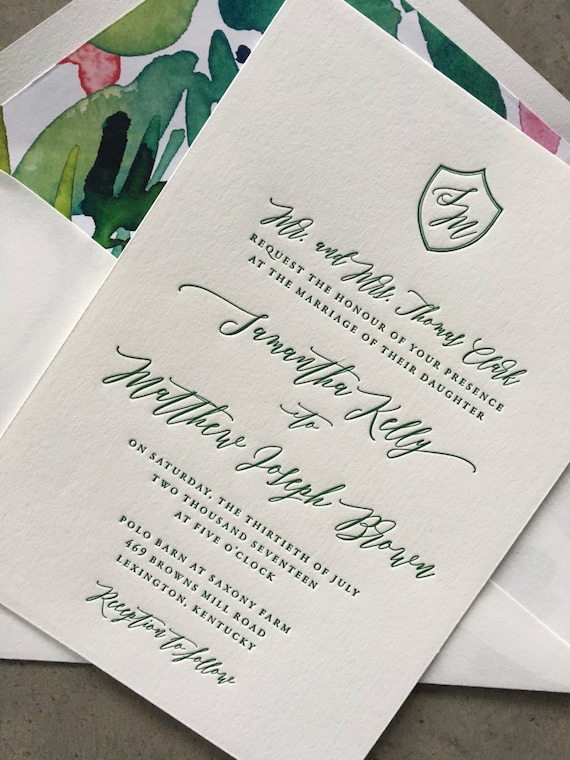Classic Crest letterpress wedding invitation, in green ink