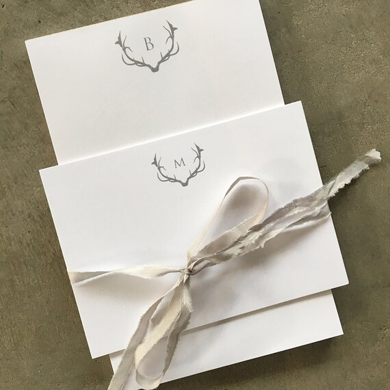 Antler and Initial personalized memo pads