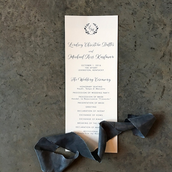 Laurel Initials tea length wedding ceremony program