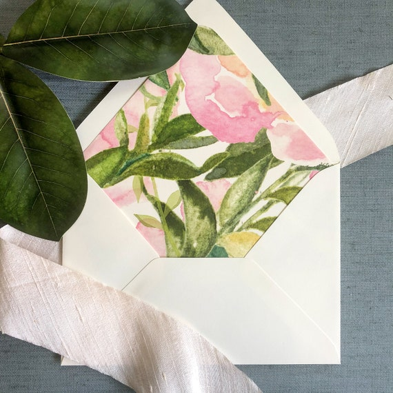 Pale Pink and Green Floral Envelope Liners