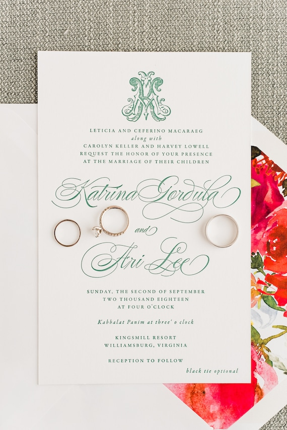 Emerald Green Watercolor Floral Crest and Victorian Monogram Sample