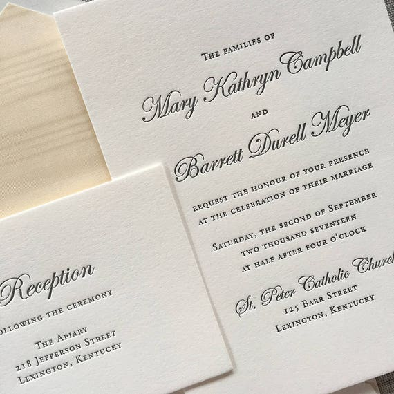 Simplicity letterpress wedding invitations