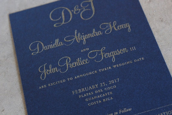 Modern Monogram and Calligraphy Save the Date Cards