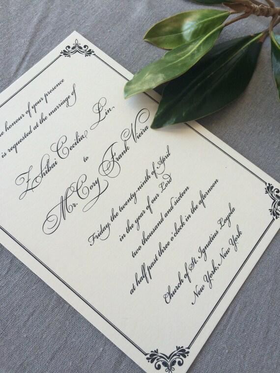 Regency wedding invitation (Sample)