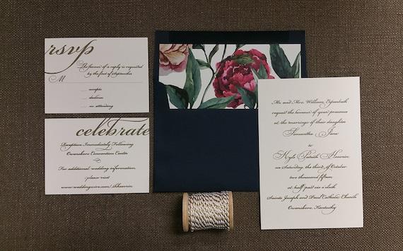 Navy and Gold Garden wedding invitations