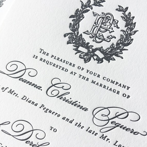 Victorian Magnolia Wreath letterpress wedding invitation in black