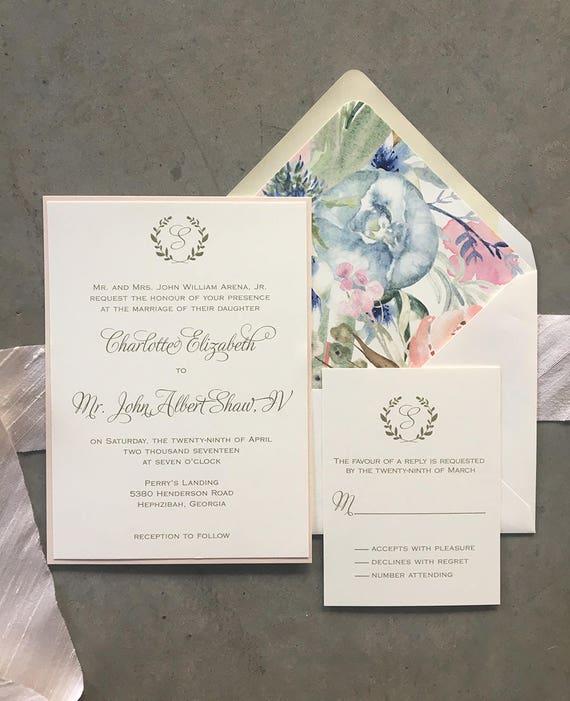 Laurel Initial wedding invitations
