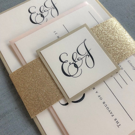 Elegant Calligraphy wedding invitation in black and blush