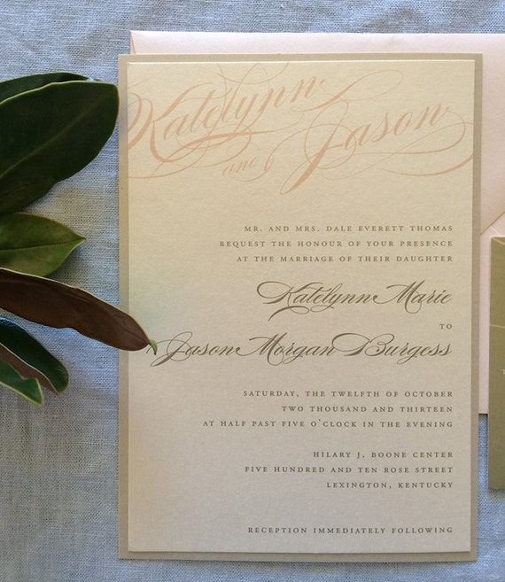 Bold Calligraphy wedding invitation (Sample)