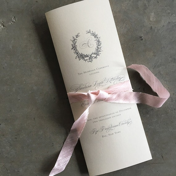 Silver Magnolia Wreath tea length folded ceremony program