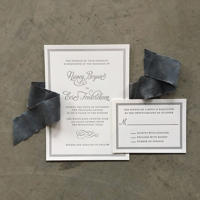 Sample Flourish And Frame Letterpress Wedding Invitation