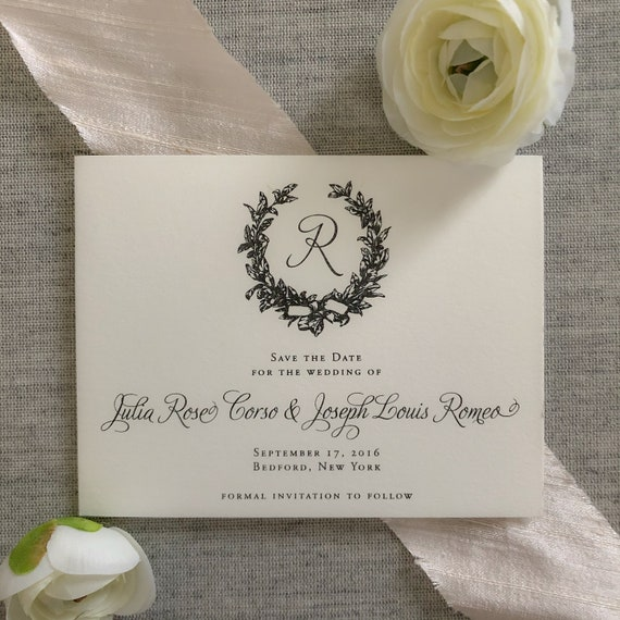 Modern Magnolia Wreath Save the Date Cards