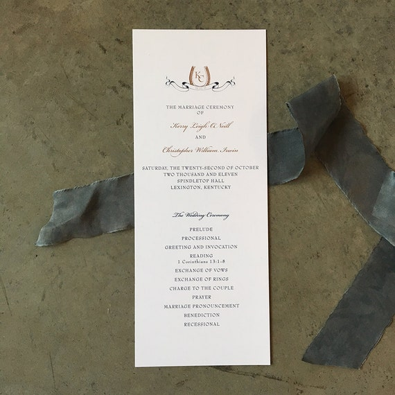 Horseshoe and Banner tea length wedding ceremony program