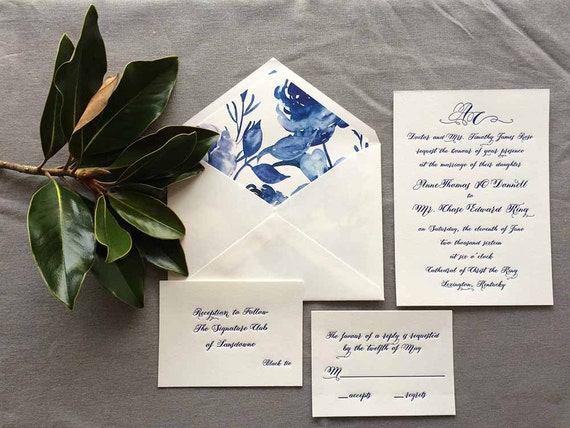 Cobalt Calligraphy Letterpress Sample