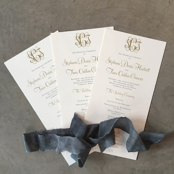 Classic Monogram wedding ceremony program, wide tea length style