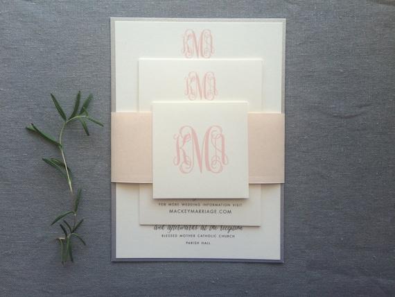 Classic Monogram wedding invitation (Sample)