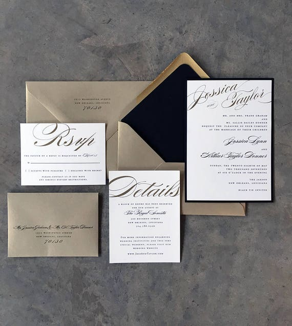 Bold Calligraphy wedding invitation in gold and black