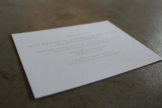 Simple Type letterpress Save the Date Card sample