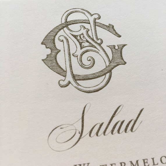 Victorian Monogram menu card