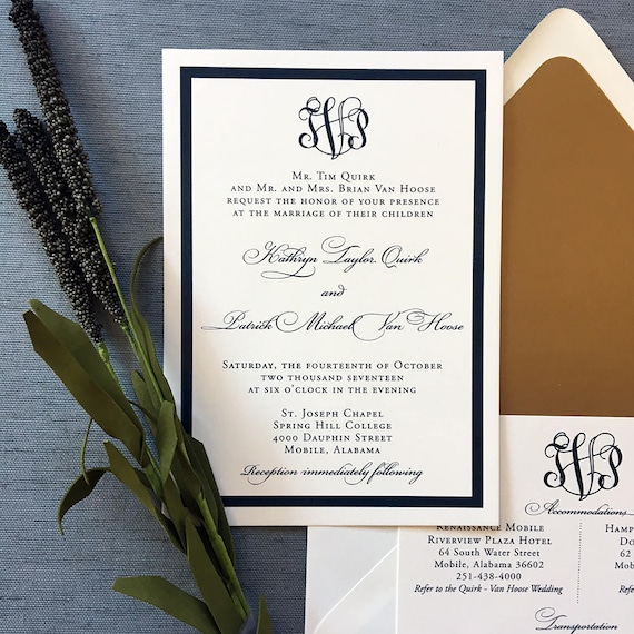 Framed Classic Monogram wedding invitation (Sample)