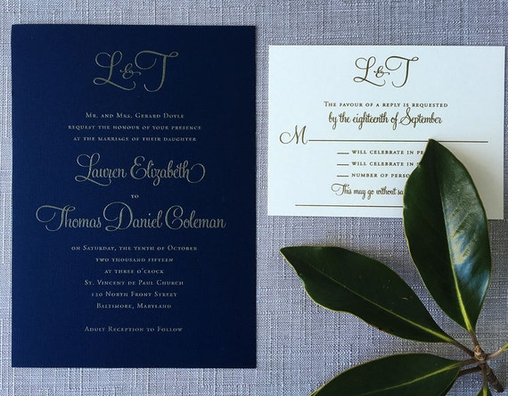 Navy and Gold Modern Calligraphy Monogram thermography wedding invitation sample