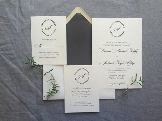 Drawn Laurel wedding invitation