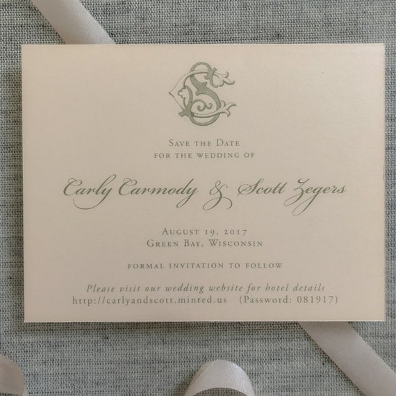 Victorian Monogram Save the Date Cards