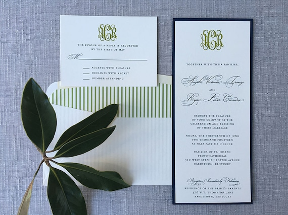 Classic Monogram tea length wedding invitation (Sample)