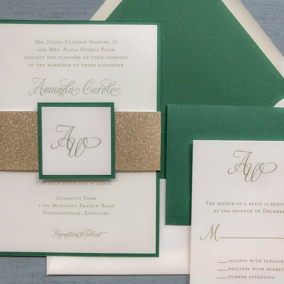 Elegant Calligraphy wedding invitation in green and gold