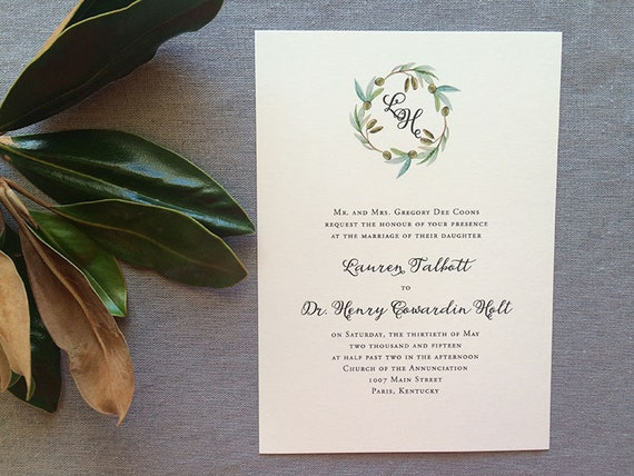 Watercolor Olive Wreath thermography wedding invitation sample