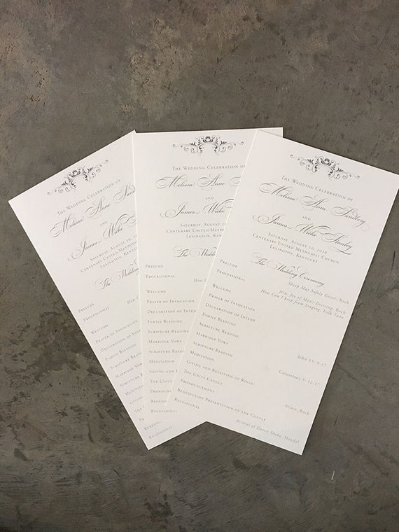 Simple Flourish wedding ceremony program, wide tea length style