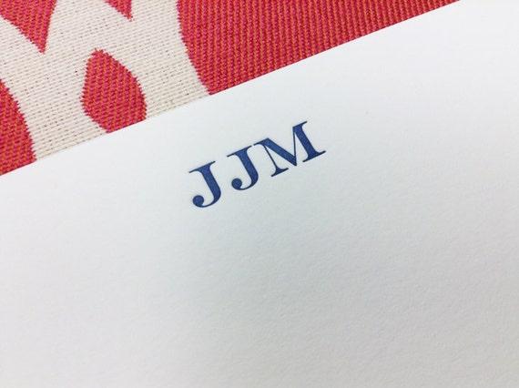 Engravers Monogram Personalized Stationery - flat card
