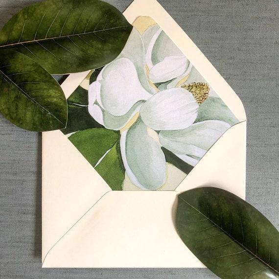 Botanical Magnolia Envelope Liners