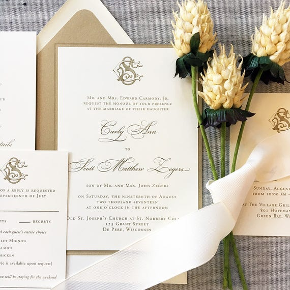 Victorian Monogram wedding invitations, in gold